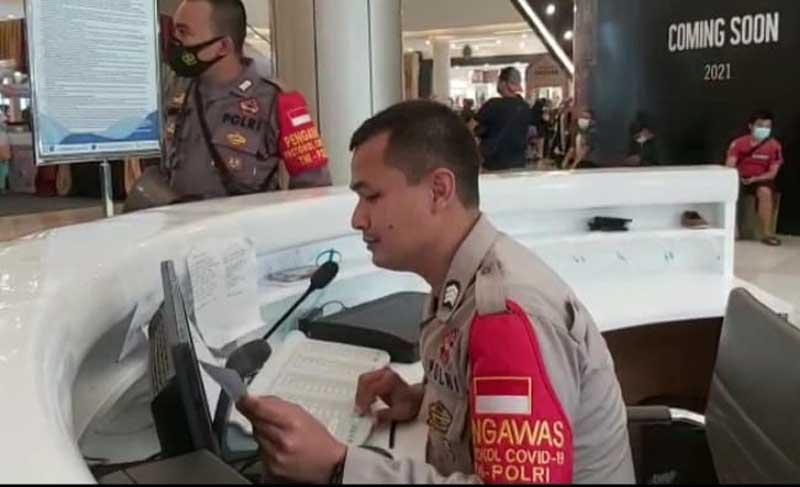 Cegah Penyebaran Covid-19 di Mall, Polsek Panongan Sosialisasikan Prokes di Mall Ciputra Tangerang
